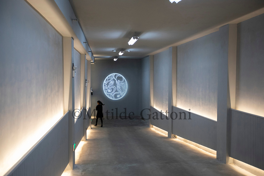 China - Ningxia - Entrance of the wine cellar of Chateau Copower Jade, on the outskirts of Yinchuan. The 80-hectare-vineyard and the winery&rsquo;s modern structure cost 19 million euros and won the 2018 RVF Wine Design Award. <br /><br />The Copower Jade chateau belongs to an oil exploration and import company based in Hong Kong. It has 11 varieties of grapes and a total production capacity of 800,000 bottles per year.