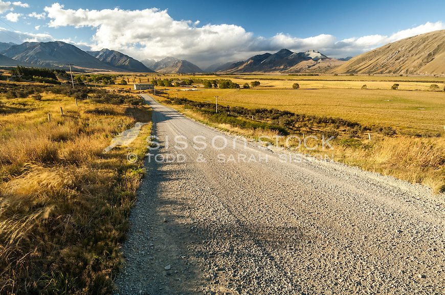 Gravel road leading to Mesopotamia Station, Rangitata valley, South Canterbury NZ