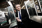 Nicolas Dupont Aignan takes the suburbs train, april 3rd 2012