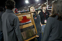 """Stanford, CA - November 18, 2017: """"The Axe"""" during the Stanford vs California football game Saturday night at Stanford Stadium.<br /> <br /> The Stanford Cardinal defeated the California Golden Bears 17 to 14."""