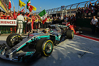March 26, 2017: Lewis Hamilton (GBR) #44 from the Mercedes AMG Petronas team drives into parc firme after coming second in the 2017 Australian Formula One Grand Prix at Albert Park, Melbourne, Australia. Photo Sydney Low