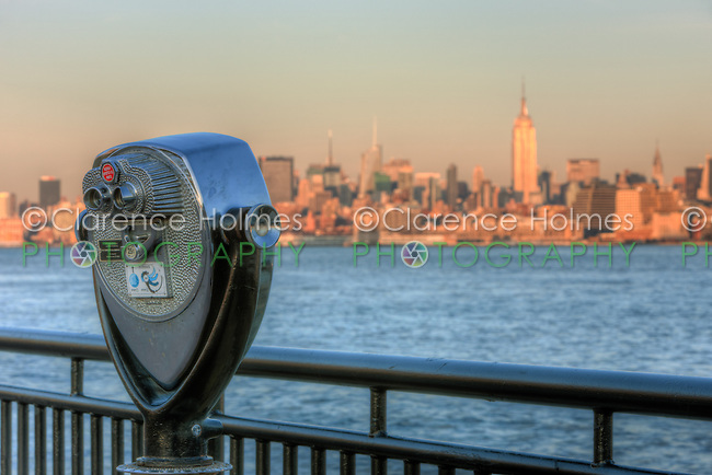 A view of Manhattan in late afternoon light across the Hudson River from Liberty State Park in Jersey City, New Jersey.