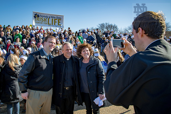 January 19, 2018; Rev. John I. Jenkins, C.S.C. takes a photo with Dan Allen, Alumni Association Spirituality Program Director and Dolly Duffy, Alumni Association Executive Director at the March for Life in Washington D.C.. (Photo by Matt Cashore/University of Notre Dame)