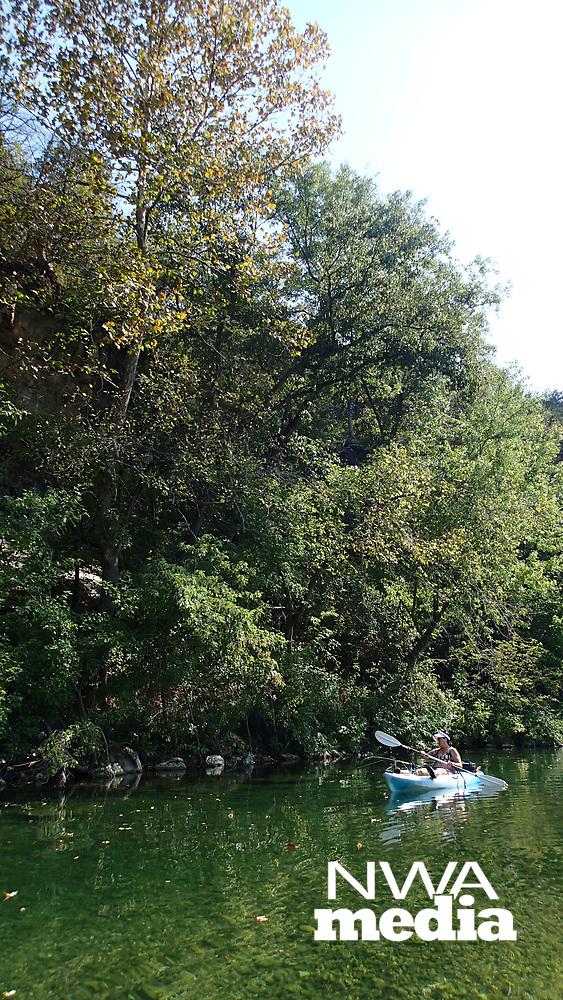 NWA Democrat-Gazette/FLIP PUTTHOFF<br />Nichols floats and fishes Sept. 15 2017 on Little Sugar Creek.