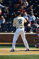 Johnny Aiello (2) of the Wake Forest Demon Deacons at bat against the Gardner-Webb Runnin' Bulldogs at David F. Couch Ballpark on February 18, 2018 in  Winston-Salem, North Carolina. The Demon Deacons defeated the Runnin' Bulldogs 8-4 in game one of a double-header.  (Brian Westerholt/Four Seam Images)