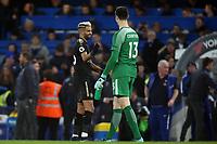 Thibaut Courtois of Chelsea and Riyad Mahrez of Leicester city after Chelsea vs Leicester City, Premier League Football at Stamford Bridge on 13th January 2018