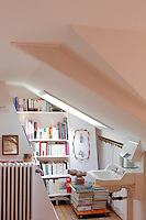 An attic bathroom is equipped with a wall of reading material