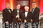 Edmond Harty of Dairymaster celebrating winning the International and Overall awards at the Ernst & Young Entrepreneur awards in Citywest Hotel, Dublin on Thursday Night.