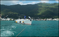 BNPS.co.uk (01202 558833)<br /> Pic: TracyEdwards/BNPS<br /> <br /> The Maiden being towed in the Seychelles.<br /> <br /> A boat that sailed into the history books 27 years ago but subsequently ran to ruin has been rescued by its former skipper and is now due to arrive home. <br /> <br /> Sailing heroine Tracy Edwards hit headlines in 1990 after leading the first all-female crew to the finish line of the prestigious Whitbread Round the World Race.<br /> <br /> When Miss Edwards, 54, checked up on the boat, called Maiden, in 2014 she was &quot;shocked&quot; and &quot;saddened&quot; to find it in a state of complete disrepair. <br /> <br /> After a successful fundraising campaign Maiden is scheduled to take to the seas once again June 2018 after being returned to her to her former glory.