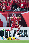 Shanghai FC Forward Oscar Emboaba Junior (U) trips up with Jiangsu FC Midfielder Tao Yuan (B) during the AFC Champions League 2017 Round of 16 match between Shanghai SIPG FC (CHN) vs Jiangsu FC (CHN) at the Shanghai Stadium on 24 May 2017 in Shanghai, China. Photo by Marcio Rodrigo Machado / Power Sport Images