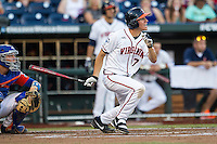 Virginia Cavaliers outfielder Adam Haseley (7) follows through on his swing against the Florida Gators in Game 13 of the NCAA College World Series on June 20, 2015 at TD Ameritrade Park in Omaha, Nebraska. The Cavaliers beat the Gators 5-4. (Andrew Woolley/Four Seam Images)