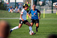 Kansas City, MO - Sunday September 3, 2017: Taylor Lytle, Desiree Scott during a regular season National Women's Soccer League (NWSL) match between FC Kansas City and Sky Blue FC at Children's Mercy Victory Field.