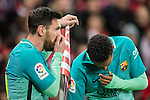 Lionel Andres Messi (l) and Neymar da Silva Santos Junior of FC Barcelona stand past a corner flag during their Copa del Rey Round of 16 first leg match between Athletic Club and FC Barcelona at San Mames Stadium on 05 January 2017 in Bilbao, Spain. Photo by Victor Fraile / Power Sport Images