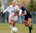 BROOKINGS, SD - OCTOBER 12: Shelby Raper #4 from South Dakota State battles for the ball with Cheyenne Diggs #10 from Oral Roberts University in the second half of their game Sunday afternoon at Fischback Soccer Field in Brookings. (Photo by Dave Eggen/Inertia)
