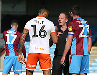 Blackpool's Curtis Tilt gets his point across to Referee Martin Coy<br /> <br /> Photographer David Shipman/CameraSport<br /> <br /> The EFL Sky Bet League One - Scunthorpe United v Blackpool - Friday 19th April 2019 - Glanford Park - Scunthorpe<br /> <br /> World Copyright © 2019 CameraSport. All rights reserved. 43 Linden Ave. Countesthorpe. Leicester. England. LE8 5PG - Tel: +44 (0) 116 277 4147 - admin@camerasport.com - www.camerasport.com