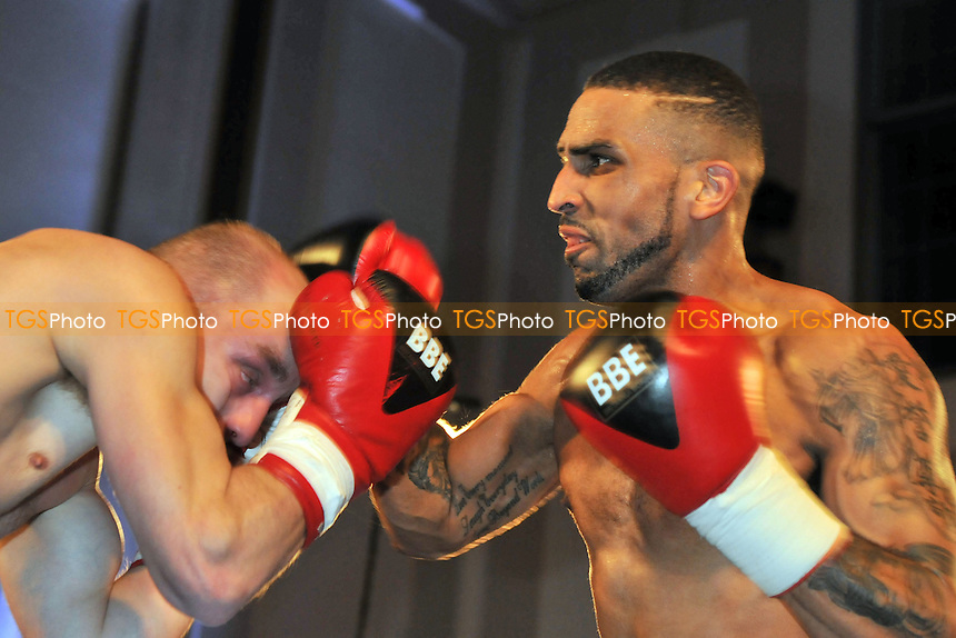 Aaron Morgan defeats Andre Cepur in a boxing contest at The Camden Centre, London - 11/04/14 - MANDATORY CREDIT: Philip Sharkey/TGSPHOTO - Self billing applies where appropriate - 0845 094 6026 - contact@tgsphoto.co.uk - NO UNPAID USE