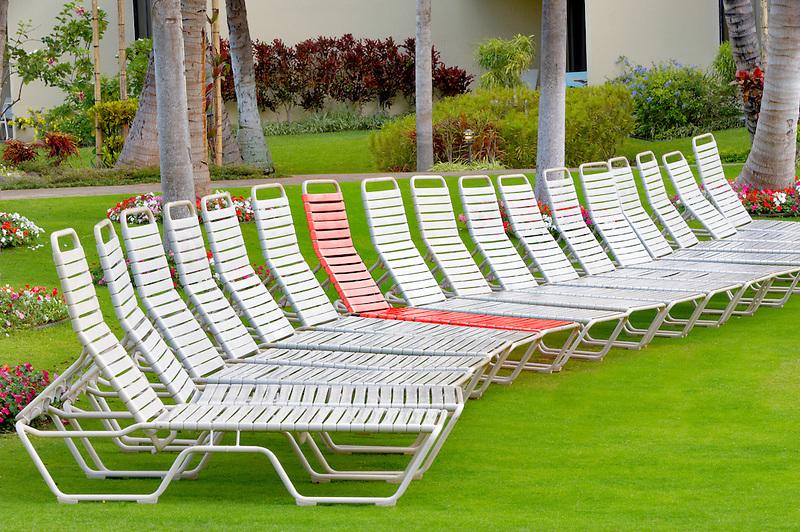 Lounge chairs at Kaanapali Shores. Maui. Hawaii