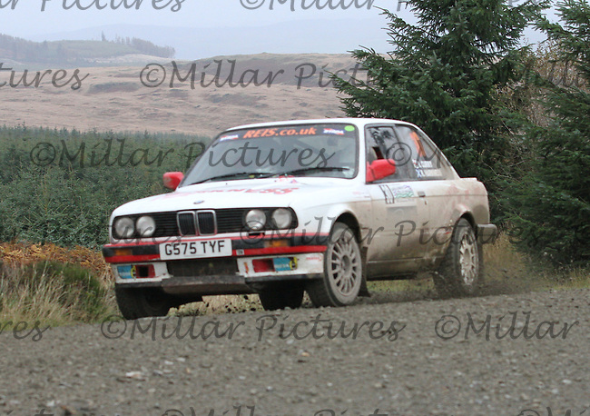 Robert Harkness / Mike Curry at Junction 9 on Special Stage 5 Stewartry Tyres Glengap of the Armstrong Galloway Hills Rally 2013, Round 9 of the RAC MSA Scotish Rally Championship which was organised by Solway, Machars and East Ayrshire Car Clubs and based in Castle Douglas on 27.10.13.