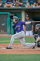 Elliot Soto (3) of the Albuquerque Isotopes at bat against the Salt Lake Bees at Smith's Ballpark on July 25, 2019 in Salt Lake City, Utah. The Bees defeated the Isotopes 8-3. (Stephen Smith/Four Seam Images)
