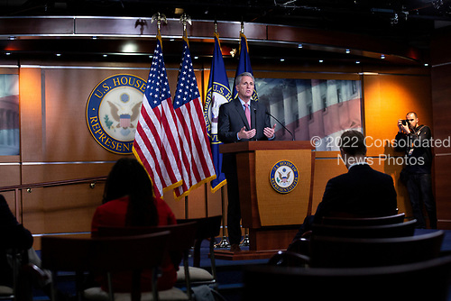 United States Representative Kevin McCarthy (Republican of California) speaks during a news conference at the United States Capitol in Washington D.C., U.S., on Wednesday, March 25, 2020.  McCarthy stated that he does not believe the Coronavirus Stimulus Package would pass the United States House of Representatives by unanimous consent, calling for a voice vote and debate when the bill is sent over. Credit: Stefani Reynolds / CNP