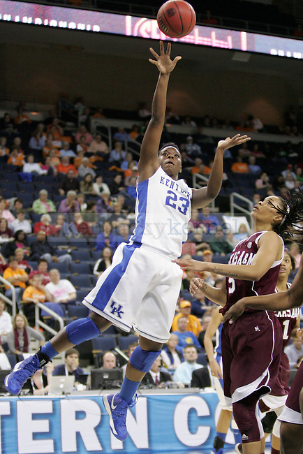 UK forward Samarie Walker attempts a shot during the first half of the University of Kentucky women's basketball game vs. Texas A&M University during the SEC Tournament Championship Game at The Arena at Gwinnett Center in Duluth, Ga. on Sunday, March 10, 2013. Texas A&M won 75-67. Photo by Genevieve Adams | Staff