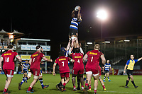 Levi Douglas of Bath United wins the ball at a lineout. Aviva A-League match, between Bath United and Harlequins A on March 26, 2018 at the Recreation Ground in Bath, England. Photo by: Patrick Khachfe / Onside Images