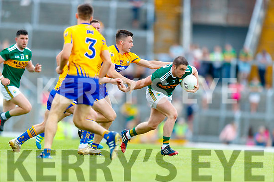 Stephen O'Brien Kerry in action against Jamie Malone Clare during the Munster GAA Football Senior Championship semi-final match between Kerry and Clare at Fitzgerald Stadium in Killarney on Sunday.