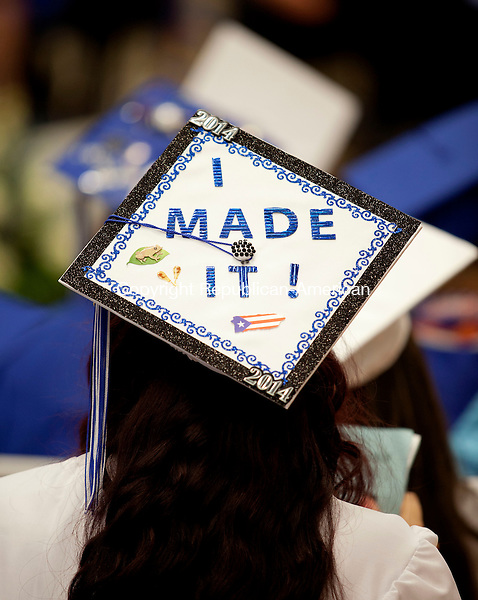 WATERBURY, CT-17 June 2014-061714BF17- The decorated cap of a Crosby High School graduate during graduation Tuesday night. Bob Falcetti Republican-American