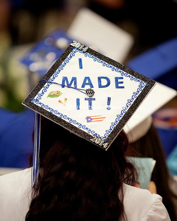 WATERBURY, CT-17 June 2014-061714BF17- The decorated cap of a Crosby High School graduate during graduation Tuesday night. Bob Falcetti Republican-American