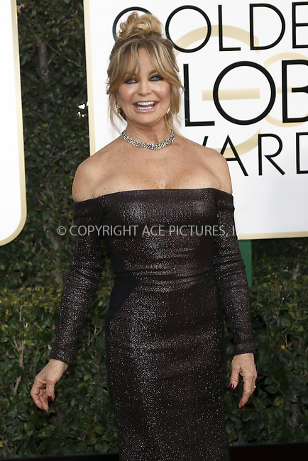 www.acepixs.com<br /> <br /> January 8 2017, LA<br /> <br /> Goldie Hawn arriving at the 74th Annual Golden Globe Awards at the Beverly Hilton Hotel on January 8, 2017 in Beverly Hills, California.<br /> <br /> By Line: Famous/ACE Pictures<br /> <br /> <br /> ACE Pictures Inc<br /> Tel: 6467670430<br /> Email: info@acepixs.com<br /> www.acepixs.com
