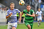 11.08.2019, Schauinsland-Reisen-Arena, Duisburg, GER, DFB-Pokal, MSV Duisburg vs SpVgg Greuther Fuerth, DFL regulations prohibit any use of photographs as image sequences and/or quasi-video<br /> <br /> im Bild v. li. im Zweikampf Connor Krempicki (#6, MSV Duisburg) Maximilian Wittek (#3, SpVgg Greuther Fürth / Fuerth) <br /> <br /> Foto © nordphoto/Mauelshagen