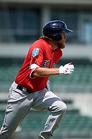Boston Red Sox left fielder Trey Ball (57) runs to first base during a Florida Instructional League game against the Baltimore Orioles on September 21, 2018 at JetBlue Park in Fort Myers, Florida.  (Mike Janes/Four Seam Images)