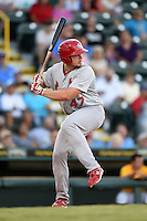 Palm Beach Cardinals first baseman Luke Voit (47) at bat during a game against the Bradenton Marauders on June 23, 2014 at McKechnie Field in Bradenton, Florida.  Bradenton defeated Palm Beach 11-6.  (Mike Janes/Four Seam Images)