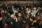 The crowd reacts to the announcement on CNN that Barack Obama is to become the 44th U.S. President around 9:30p.m. Central Standard Time, CST, as seen on a jumbotron screen on election night 2008 in Grant Park in Chicago, Illinois November 4, 2008.
