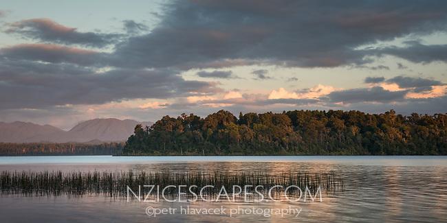 Dusk, sunset at Lake Mahinapua jetty, South Westland, West Coast, New Zealand, NZ