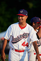Auburn Doubledays pitcher Angel Guillen (44) during introductions before a game against the Hudson Valley Renegades on September 5, 2018 at Falcon Park in Auburn, New York.  Hudson Valley defeated Auburn 11-5.  (Mike Janes/Four Seam Images)