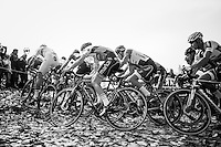 The Elite Men charge up the Koppenberg cobbles (covered in autumn leafs)<br /> <br /> 25th Koppenbergcross 2016