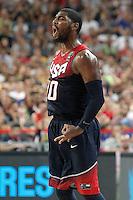 USA's Kyrie Irving celebrates during 2014 FIBA Basketball World Cup Quarter-Finals match.September 9,2014.(ALTERPHOTOS/Acero)