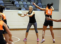 06.10.2014 Silver Fern Katrina Grant in action at the Silver Ferns training ahead of the netball test match againt Australia in Melbourne. Mandatory Photo Credit ©Michael Bradley.