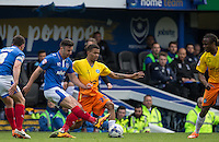 Jerell Sellars (Loanee from Aston Villa) of Wycombe Wanderers in action during the Sky Bet League 2 match between Portsmouth and Wycombe Wanderers at Fratton Park, Portsmouth, England on 23 April 2016. Photo by Andy Rowland.