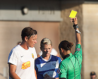 Yellow Card: Boston Breakers midfielder Joanna Lohman (11) from Christina Unkel. In a National Women's Soccer League (NWSL) match, Boston Breakers (blue) tied Western New York Flash (white), 2-2, at Dilboy Stadium on August 3, 2013.