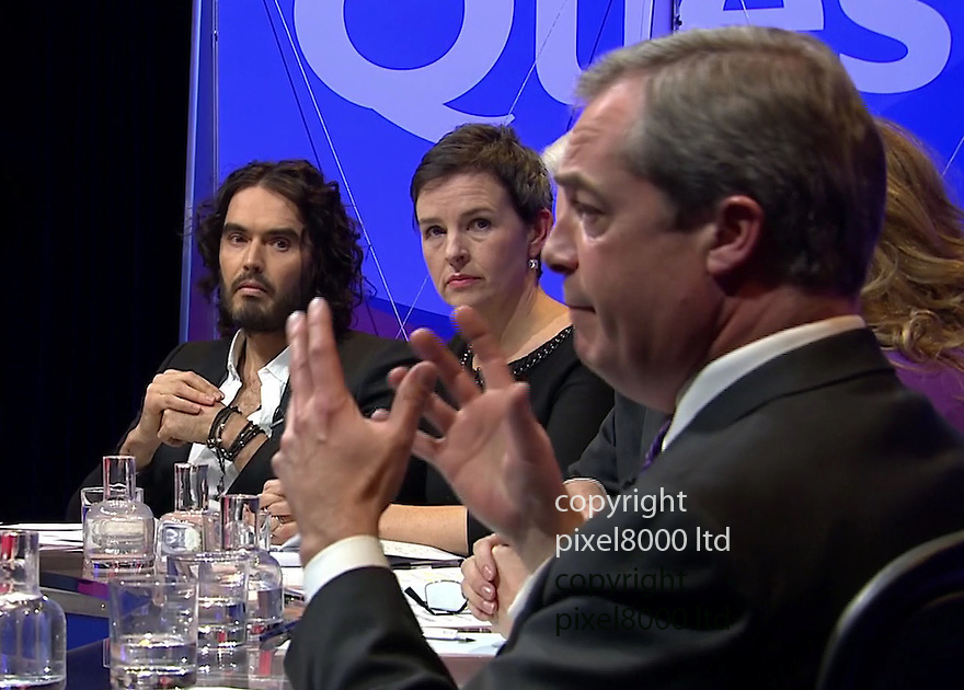BBC Question Time:<br /> Russell Brand and Nigel Farage appeared on the show together.<br /> <br /> <br /> <br /> <br /> Pic supplied by Pixel 8000 Ltd