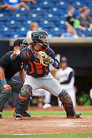 Bowing Green Hot Rods catcher David Rodriguez (7) check the runner in front of umpire Brandin Sheeler during a game against the Quad Cities River Bandits on July 24, 2016 at Modern Woodmen Park in Davenport, Iowa.  Quad Cities defeated Bowling Green 6-5.  (Mike Janes/Four Seam Images)