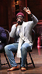 """Carvens Lissaint from the 'Hamilton' cast during a Q & A before The Rockefeller Foundation and The Gilder Lehrman Institute of American History sponsored High School student #EduHam matinee performance of """"Hamilton"""" at the Richard Rodgers Theatre on October 25, 2017 in New York City."""