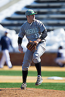 Marshall Thundering Herd relief pitcher Chase Boster (32) delivers a pitch to the plate against the Georgetown Hoyas at Wake Forest Baseball Park on February 15, 2014 in Winston-Salem, North Carolina.  The Thundering Herd defeated the Hoyas 5-1.  (Brian Westerholt/Four Seam Images)