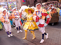 """PHILADELPHIA - JANUARY 1: Members of the Irish American String Band perform """"4 Shore 2005"""" during the Philadelphia Mummers Parade January 1, 2005 in Philadelphia, Pennsylvania. The Philadelphia Mummers Parade, which is the nation's oldest folk festival, features string bands, fancy division, fancy brigades, and comic division participants competing for $100,000 in prizes handed out by the city of Philadelphia. (Photo by William Thomas Cain/Getty Images)"""