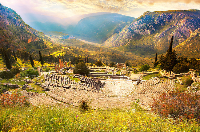 4th century BC theatre of Delphi, archaeological site, Greece,