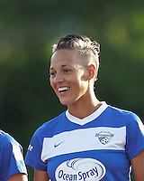 Boston Breakers forward Lianne Sanderson (10). In a National Women's Soccer League Elite (NWSL) match, the Boston Breakers (blue) tied Western New York Flash (white), 2-2, at Dilboy Stadium on June 5, 2013.