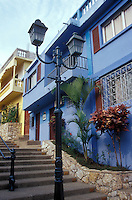 Restored houses in the Las Penas restored historic district on Cerro Santa Ana in Guayaquil, Ecuador