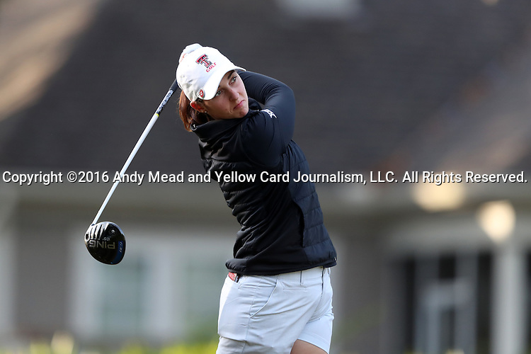 28 October 2016: Texas Tech University's Lauren Mason. The First Round of the 2016 Landfall Tradition NCAA Women's Golf Championship hosted by the University of North Carolina Wilmington Seahawks was held at the Pete Dye Course at the Country Club of Landfall in Wilmington, North Carolina.